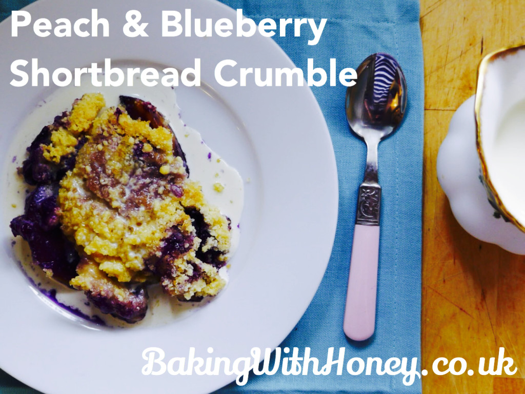 Peach & Blueberry Shortbread Crumble (with cream)