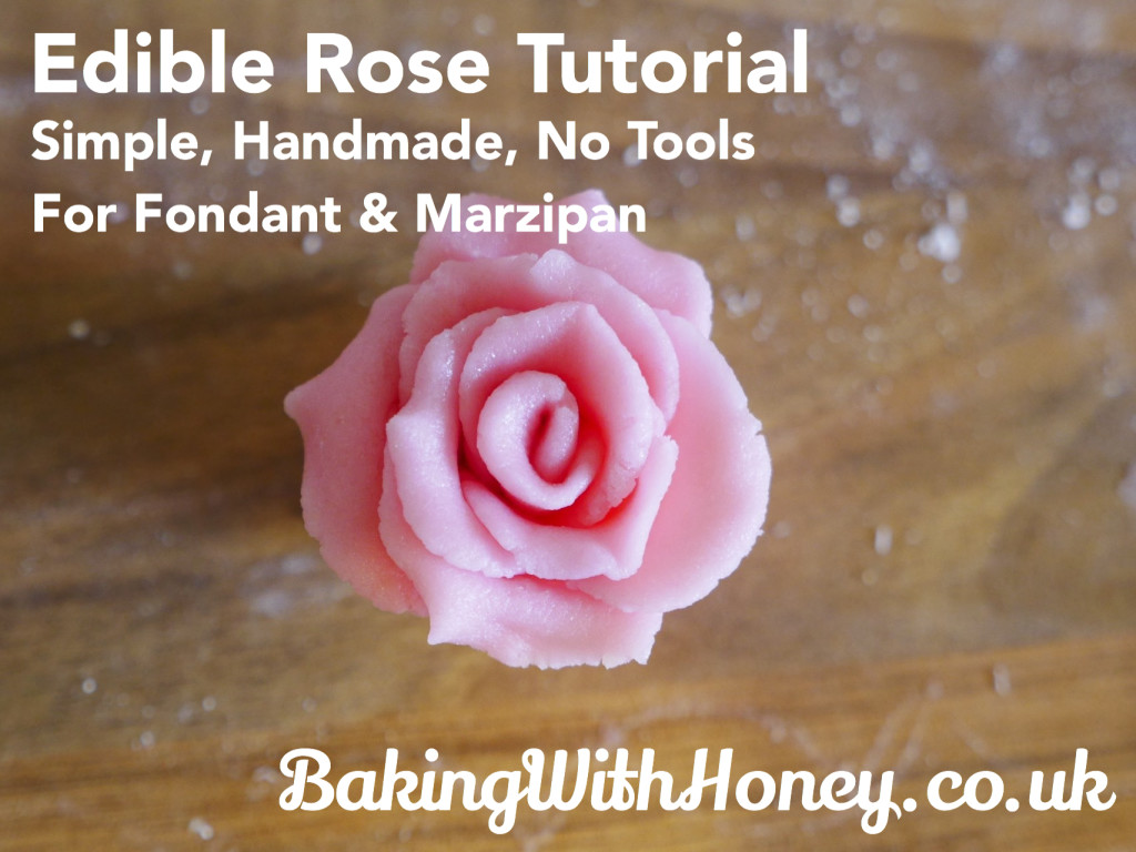 Simple Edible Rose Tutorial No Tools No Equipment Marzipan Fondant Sugarcraft