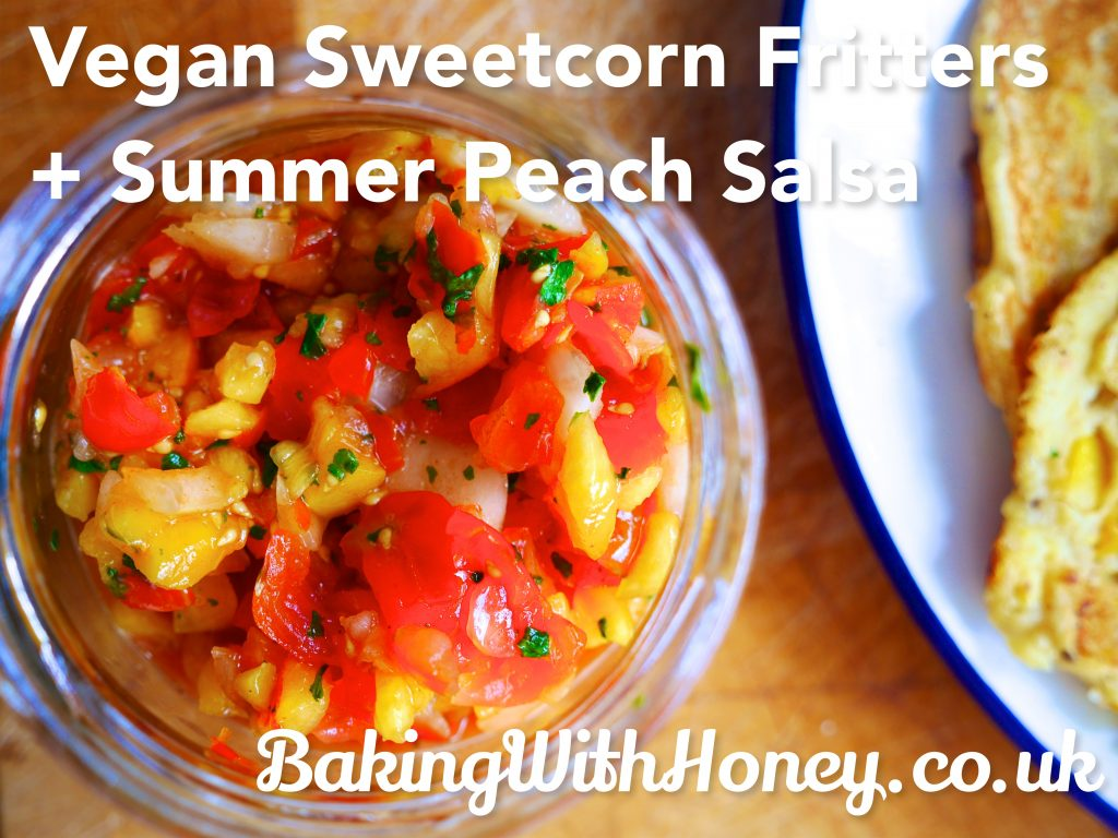 vegan sweetcorn fritters and summer peach salsa